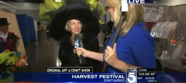Linda from Pretty Fancy interviewed on KTLA5 at the Ontario Harvest Festival